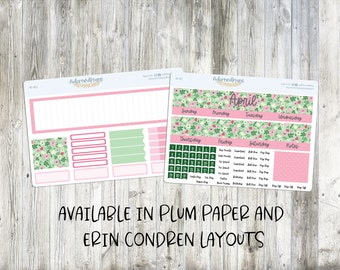 Happy Planner April Monthly kit or Plum Paper Cute Planner Stickers for your Erin Condren LP