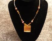 Copper Gold Square Necklace