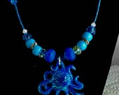 Blue Glow In The Dark Octopus Necklace