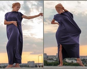 Maxi women comfortable dress Elegant brown long jersey dress with big hood end large pockets