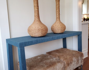 Grasscloth Wrapped Console WDrawers Customizable