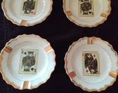 Set of 4 Vintage Napco Hand-painted High Cards Ashtrays