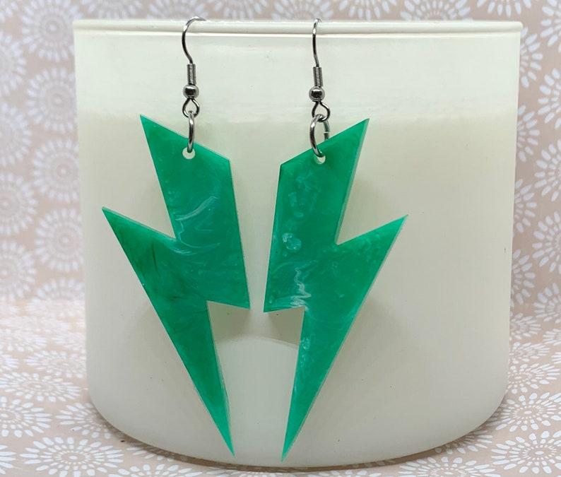 Green and white swirl lightening dangles Hypoallergenic