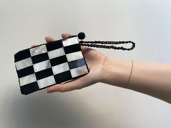 Checkered Patchwork Mother of Pearl Shell Purse