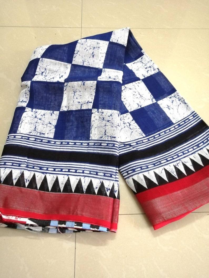 Linen Saree cotton linen saree linen Cotton saree Indian Saree. block print saree