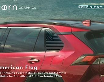 American Flag PrezisionCut® Toyota RAV4 Vinyl Window Decal – No Trimming Required