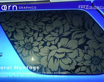 Floral Montage PrezisionCut® Toyota 4Runner Matte Black Vinyl Window Decal – No Trimming Required
