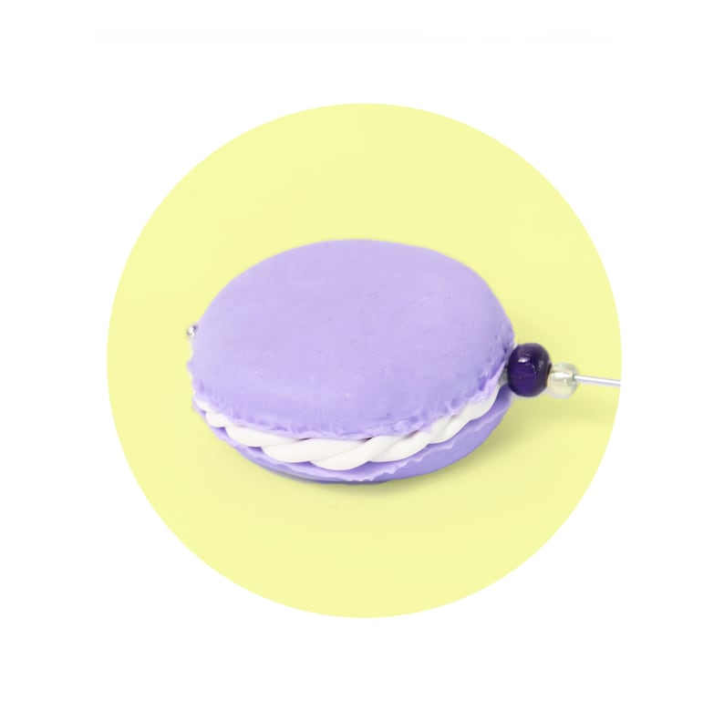 Stocking filler for Hat lover Lavender Macaron or purple hat pin Lolita Fashion. Mad hatter tea party