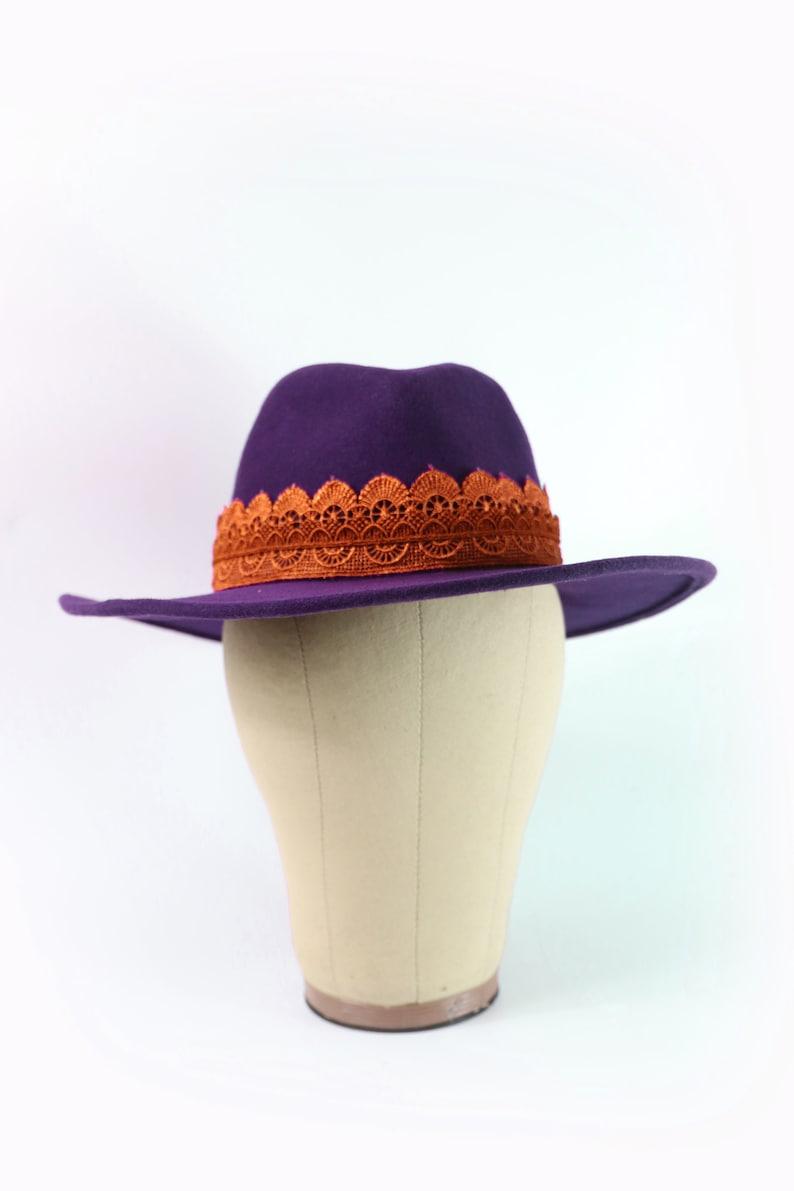 Indigo Autumn Winter hat. Handmade 100/% Wool Hat Lace Trimming Purple Fedora Hat