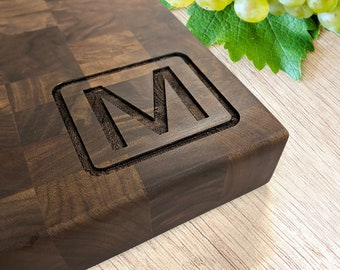 Cutting Board Butcher Block End Grain walnut Engraved Family Name Anniversary Gift Wedding Gift Appreciation Gift Valentines Gift
