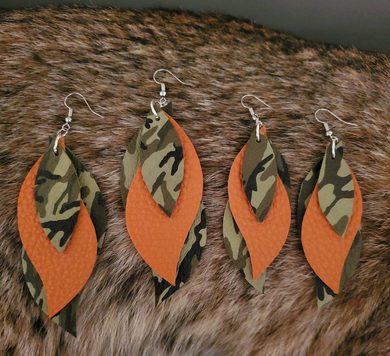 Camo and orange leather earrings Camouflage earrings layered 3 layered leather earrings camo leather and orange Leather dangle earrings