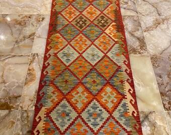 Handmade Kilim Runner wool natural colours Afghan Traditional 292x84cm 10 ft