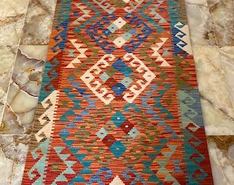 Handmade Kilim Runner wool natural colours Afghan Traditional 302x87cm  10 ft