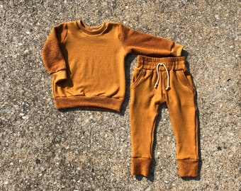 Camel Baby Crew Neck + Jogger Set Organic Baby Sweatshirt Baby Camel Joggers Organic French Terry Baby Lounge Set
