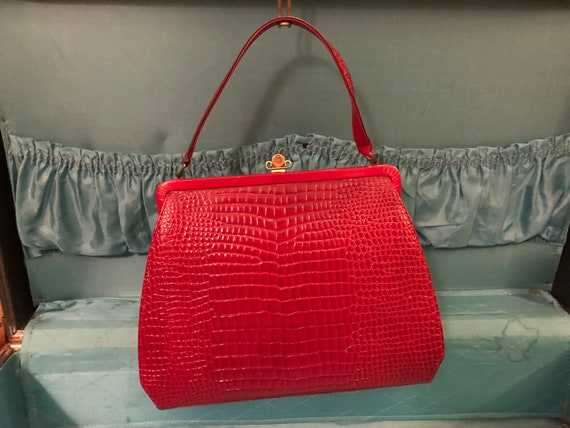 Red Leather Melbourne Vintage Handbag,