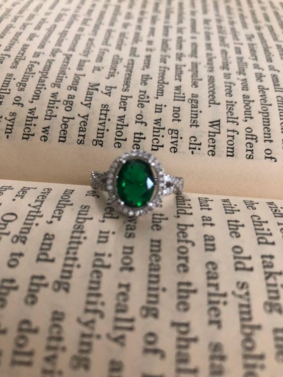 Emerald Infinity Ring, Emerald statement ring,Emer