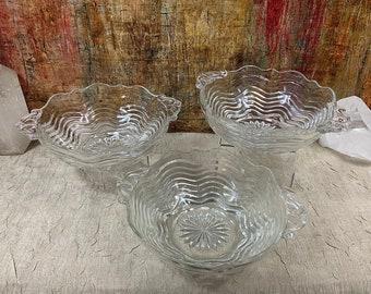 Pair Of Vintage Duncan Miller Sandwich Depression Glass Oval Vegetable Serving Bowls-Ships International Email For Rates