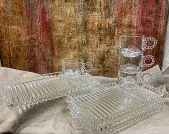 Boopie Colony Trays One Hazel Atlas Clear Glass Snack Set Luncheon Tray Orchard 1 Candlewick
