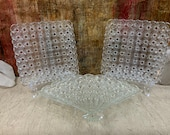 Vintage Wright Glass, LG Daisy and button clear set of 3 Plates, Fan Plate, Square Plate