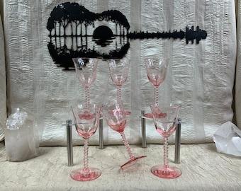 Rare Central Glass Works #1426 Pink Diamond Optic Twist Stem Wine Cordials Set of Six(6)
