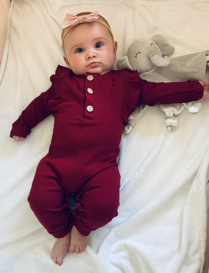 Baby Ruffle Sleeve Fall Autumn Winter Baby Girl RIBBED FLUTTER SLEEVE Long-Sleeved Romper Outfit Burgundy ribbed baby fall outfit