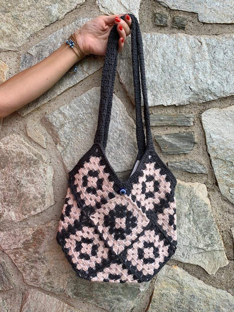 Handmade Granny Square Crochet Shoulder Bag
