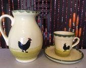 Vintage Zeller Keramik Germany Rooster Hen Pitcher Cup Saucer Set A5 1970s Yellow Retro Mid Century