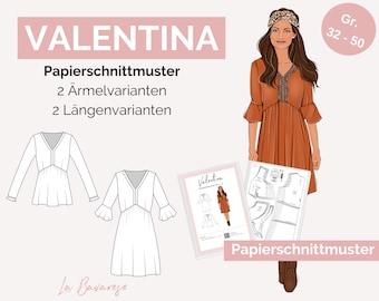 Paper Pattern Valentina, Boho Dress Women's Pattern, Size 32 to 50