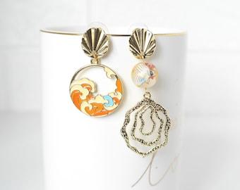 Dangle /& Drop Earrings Tensha Bead Earrings Mismatch Kiku Tensha with Sweet Pink Tassel Prom Earrings