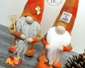 Customized Harris Tweed Autumn Gnomes in Autumn Orange
