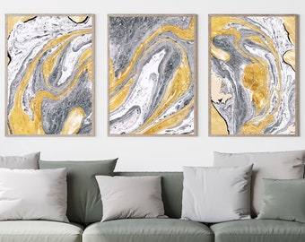 Set of 3, Mustard, Grey and White Marble Print, Wall Art, Poster, Framed Art, Print
