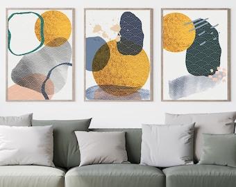 Set of 3, Navy and Mustard Yellow Abstract Print, Wall Art, Poster, Framed Art, Print