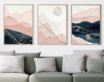 Pink and Navy Abstract Mountain Set of 3, Pink, Blue, Navy, Cream,Neutral, Contemporary Print, Wall Art, Poster, Framed Art, Print