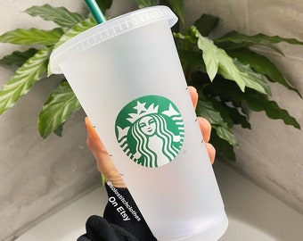Reusable coffee cold cup with straw and lid. 24oz