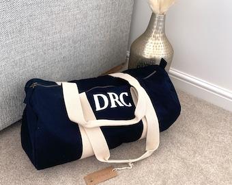 Bespoke Barrel Gym Overnight Holdall Personalised 100% Organic Cotton Bag   Customised Vinyl Initials Travel Vanity Toiletries Accessories