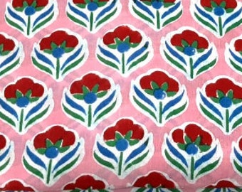 Pink Red Floral Print Fabric,Indian Cotton Fabric,Block Print Fabric,Sold by Meter Fabric,Jaipur Fabric,Dress Fabric,Curtain Decor Fabric