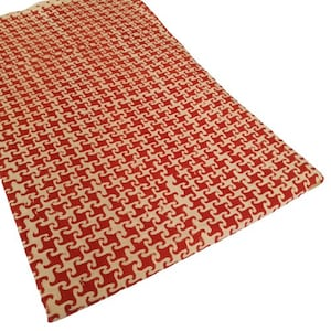 Dabu hand block printed  red color geometric  indian cotton fabric by the yard fabric #153