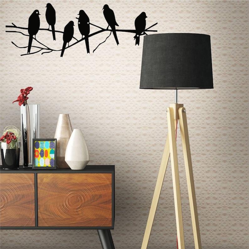 Metal Wall Decor Birds on Branch Metal Birds Wall Art Birds image 0