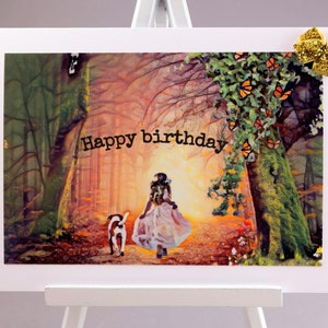 Vintage Happy Birthday Greeting Card Adorable Little Boy and Girl Rain Gear Umbrella Duckling