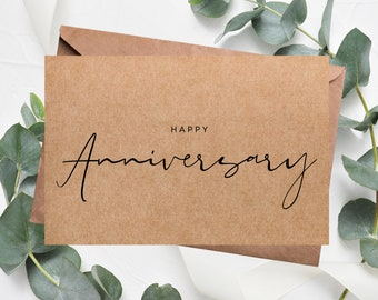 HAPPY ANNIVERSARY | kraft card, boho anniversary card, paper wedding anniversary.