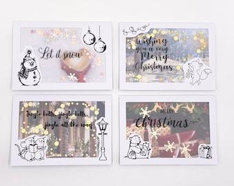 4Er Weihnachtskarten Set Nr. 1 Konfettikarten Merry Christms Briefschlaglkarte Schüttelkarte Konfetti Weihnachten Kreativbegabt