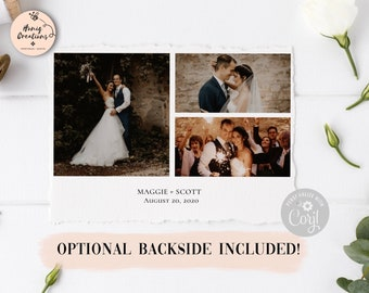 Corjl Wedding Thank You Card Template Three Photos Backside Included Thank You Simple Thank You Classic Thank You Card Instant Download
