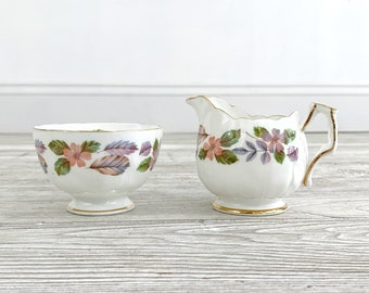 Vintage Aynsley April Rose Mini Creamer and Sugar Dish; Replacement China; Made in England (SMH)