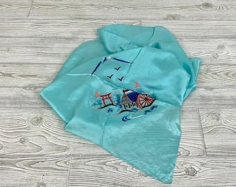 Vintage Silk Asian Theme Scarf; Vintage Silk Pagoda Scarf; Vintage Satin Asian Theme Scarf; Vintage Silk Embroidered Scarf (MAE)