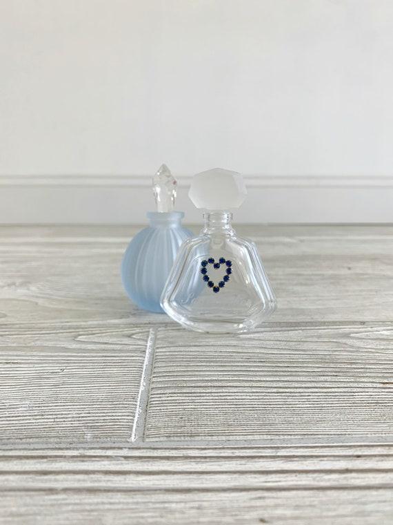 Vintage Perfume Bottles; Blue Frosted Glass; Septe