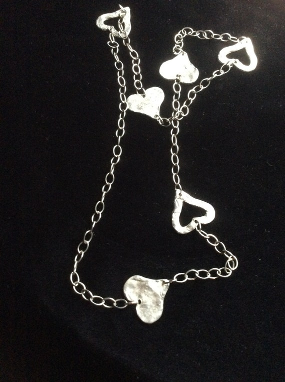 Silver necklace,heart necklace