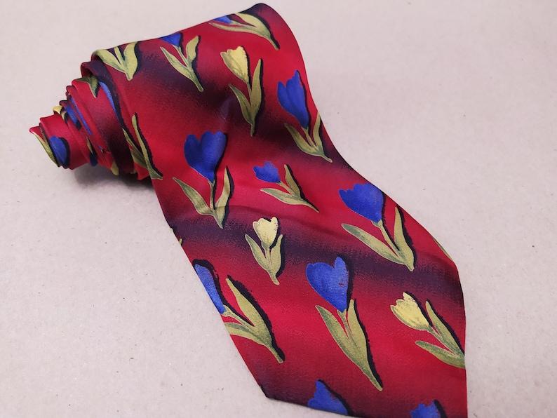 Necktie Silk Mens cravat Principles Tie print floral pattern Vintage brand Made in England