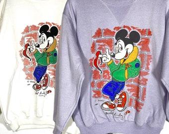 Bugs Bunny lilac sweatshirt Warner Bros print by Michel Bachoz new old stock 80s size M.