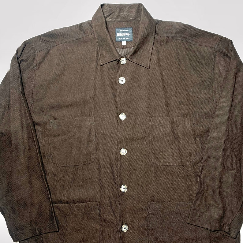 80s NOS sz XXL Tipo\u2019s brown striped canvas worker style chore jacket made in Italy