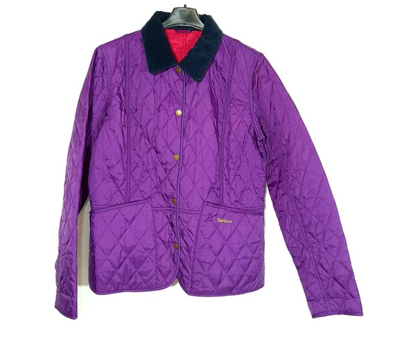 Quilted padded purple jacket by Barbour